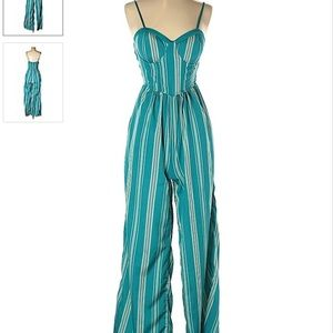 Striped Teal Jumpsuit Size Medium